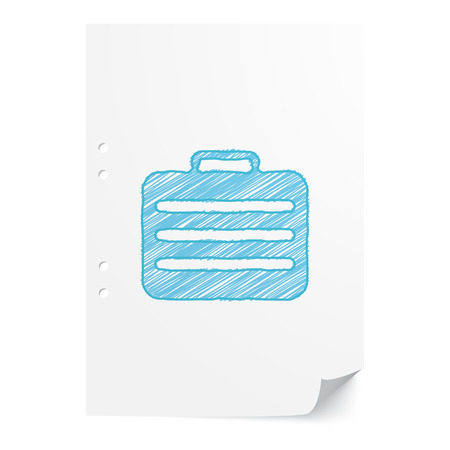 paper case: Blue handdrawn Travel Case illustration on white paper sheet with copy space
