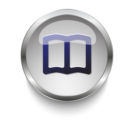 bible story: Dark blue Book icon on a glossy glass button with chrome on white background