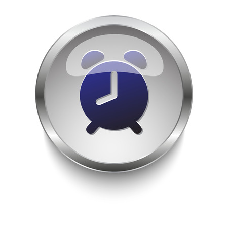 metal black: Dark blue Alarm Clock icon on a glossy glass button with chrome on white background Illustration