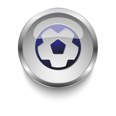 chrome ball: Dark blue Soccer Ball icon on a glossy glass button with chrome on white background Illustration