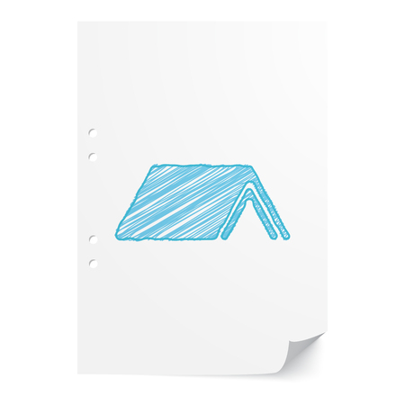 Blue handdrawn Shelter illustration on white paper sheet with copy space Illustration