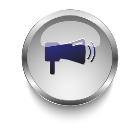 dark chrome: Dark blue Megaphone icon on a glossy glass button with chrome on white background
