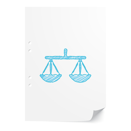 Blue handdrawn Balance illustration on white paper sheet with copy space