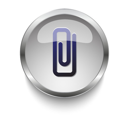 dark chrome: Dark blue Paper Clip icon on a glossy glass button with chrome on white background
