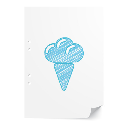 ice sheet: Blue handdrawn Ice Cream illustration on white paper sheet with copy space Illustration