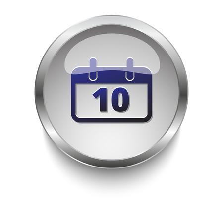 dark chrome: Dark blue Calendar icon on a glossy glass button with chrome on white background