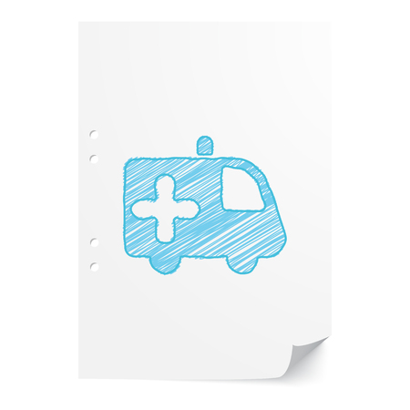 Blue handdrawn Ambulance illustration on white paper sheet with copy space