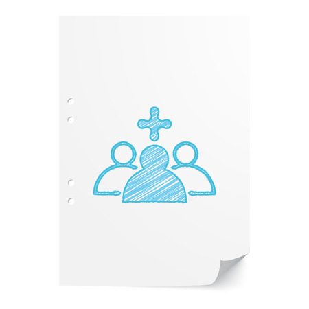 school nurse: Blue handdrawn Medical Staff illustration on white paper sheet with copy space