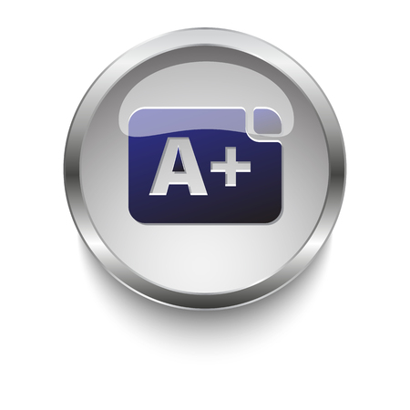 grade: Dark blue Grade icon on a glossy glass button with chrome on white background