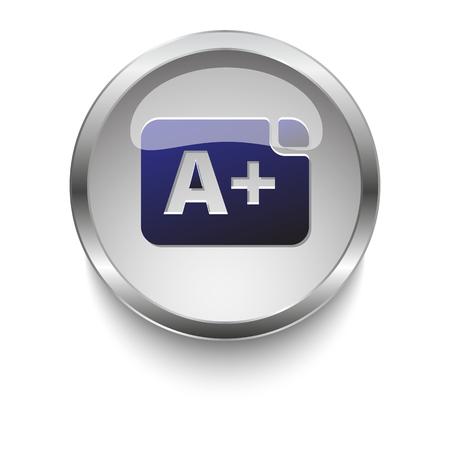 dark chrome: Dark blue Grade icon on a glossy glass button with chrome on white background