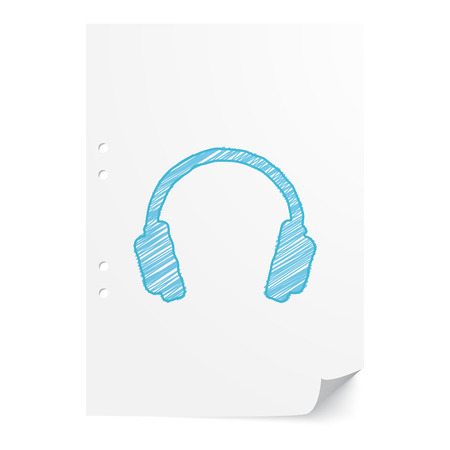 Blue handdrawn Headphones illustration on white paper sheet with copy space