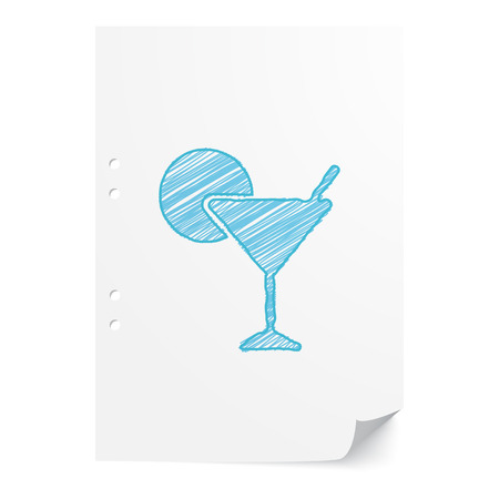 office party: Blue handdrawn Cocktail illustration on white paper sheet with copy space Illustration