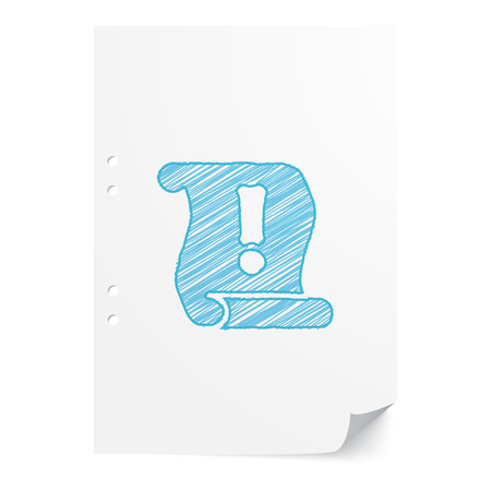 important information: Blue handdrawn Important Information illustration on white paper sheet with copy space