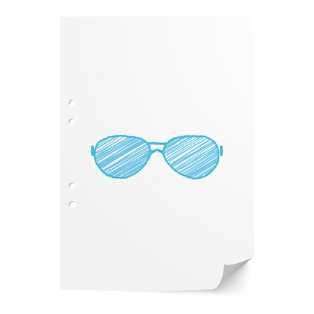 blue eyes: Blue handdrawn Sunglasses illustration on white paper sheet with copy space