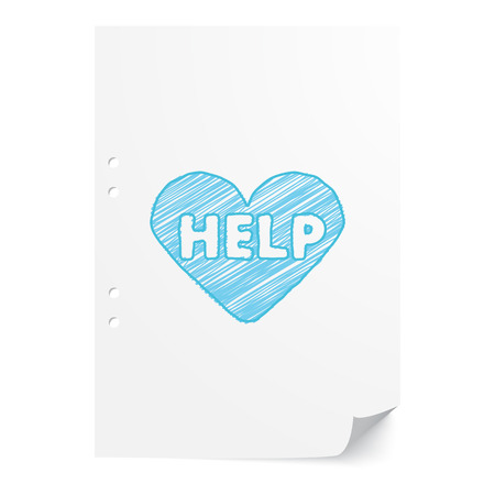 Blue handdrawn Aed  illustration on white paper sheet with copy space