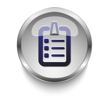 blue glass: Blue checklist glossy glass and chrome web button
