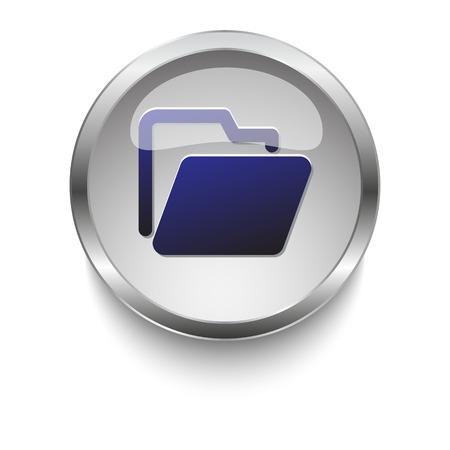 blue glass: Blue folder glossy glass and chrome web button