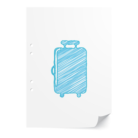 case sheet: Blue handdrawn Luggage illustration on white paper sheet with copy space