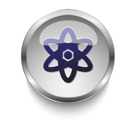 fission: Dark blue Nuclear icon on a glossy glass button with chrome on white background Illustration