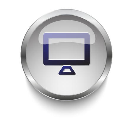 dark chrome: Dark blue Computer Screen icon on a glossy glass button with chrome on white background
