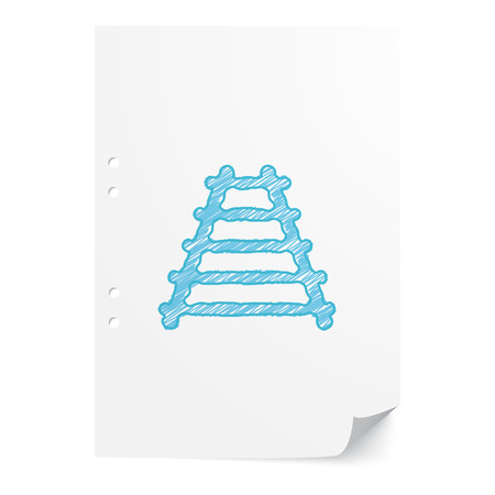 modern train: Blue handdrawn Railroad illustration on white paper sheet with copy space