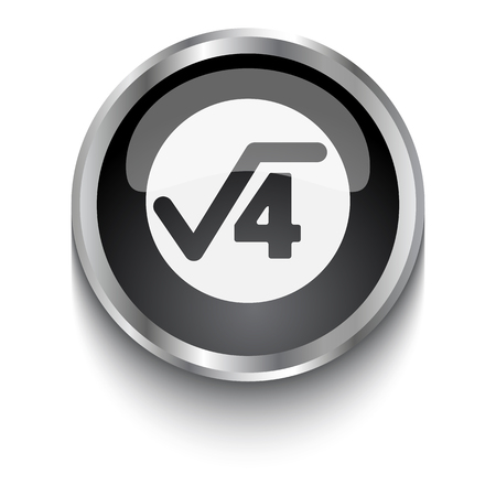 square root: White Square Root symbol on black web button Illustration