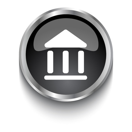 museum: White Museum symbol on black web button