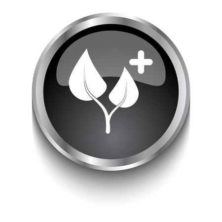 treatment plant: White Medical Herbs symbol on black glossy web button Illustration