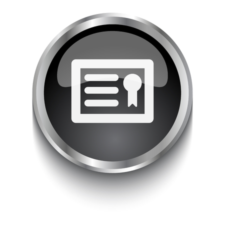 document icon: White Diploma symbol on black web button