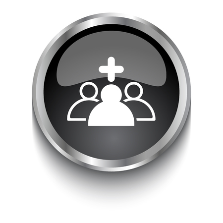clinical staff: White Medical Staff symbol on black glossy web button