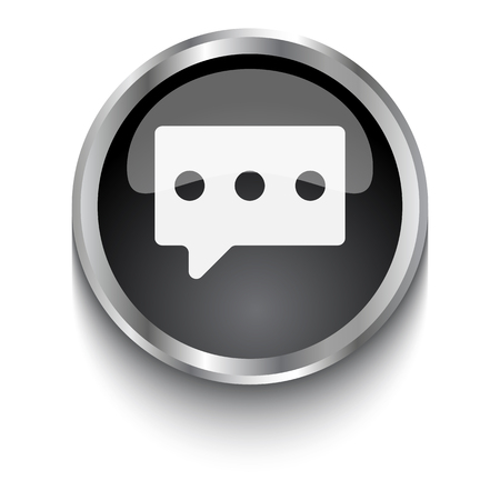 speak out: White Message symbol on black web button