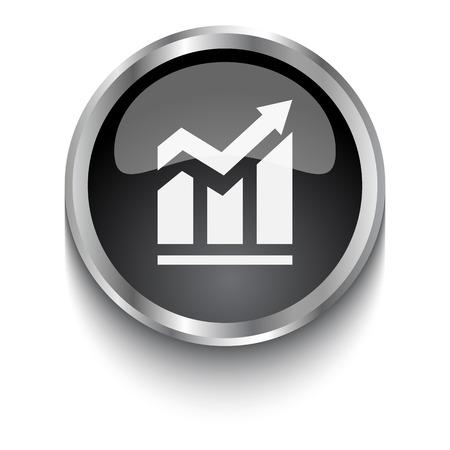 trend: White Trend symbol on black web button Illustration
