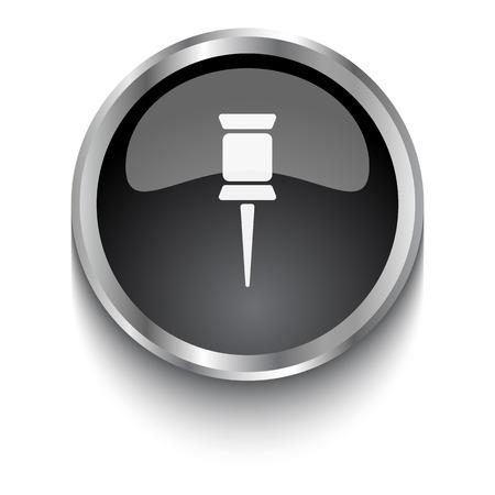 white pushpin: White Pushpin symbol on black web button Illustration