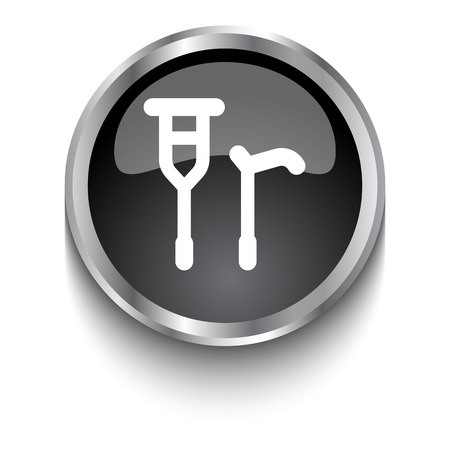 crutch: White Crutch Cane symbol on black glossy web button