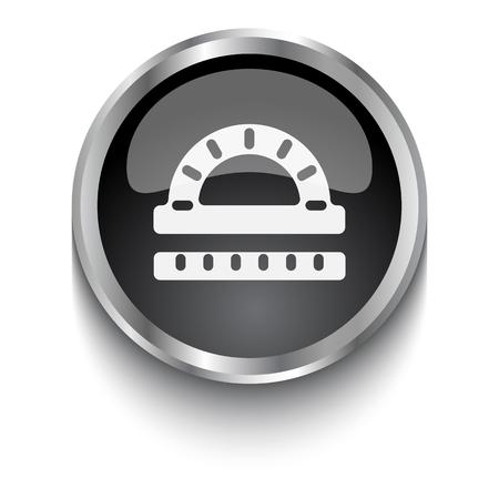 protractor: White Protractor Ruler symbol on black web button