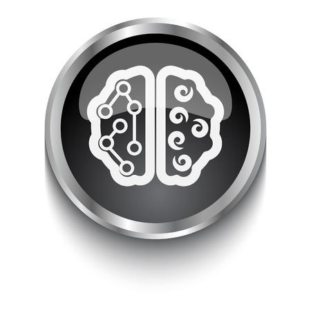 black white brain: S�mbolo del cerebro blanco sobre negro bot�n de la web