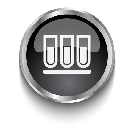 chemistry lab: White Test Tube symbol on black web button