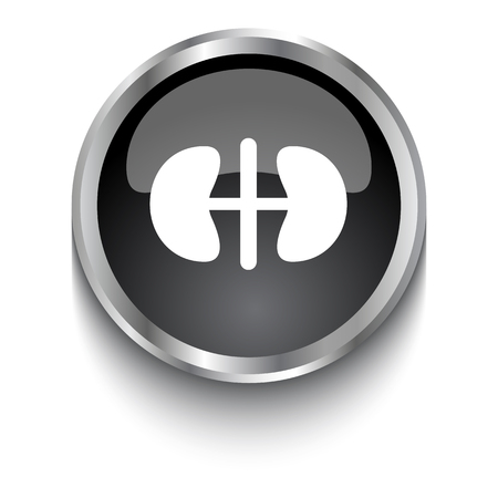 kidneys: White Kidneys symbol on black glossy web button Illustration