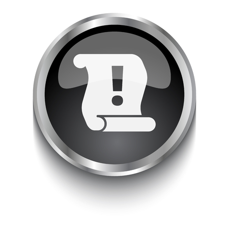 note of exclamation: White Important Information symbol on black web button