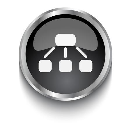 jerarquia: Blanco s�mbolo de jerarqu�a en el bot�n web negro