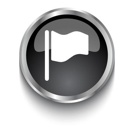 флагшток: White Flag symbol on black web button Иллюстрация