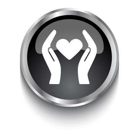 White Heart Care symbol on black glossy web button Illustration