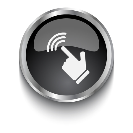 a touch: White Touch Screen symbol on black web button