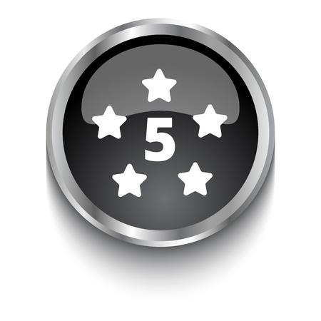 five star: White Five Star symbol on black web button