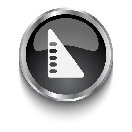 set square: White Set Square symbol on black web button Illustration