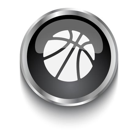 team sports: Símbolo blanco del baloncesto en el botón de la web negro