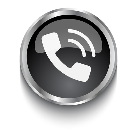call outs: White Phone symbol on black web button Illustration