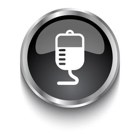 donor blood type: White Transfusion symbol on black glossy web button Illustration