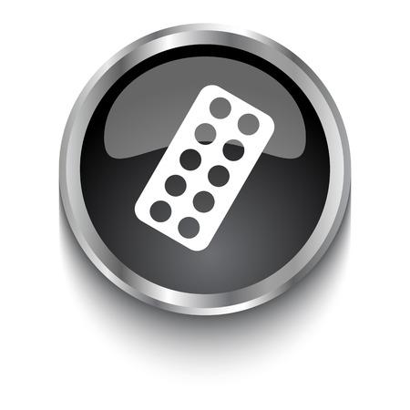 a tablet blister: White Tablet Strip symbol on black glossy web button Illustration