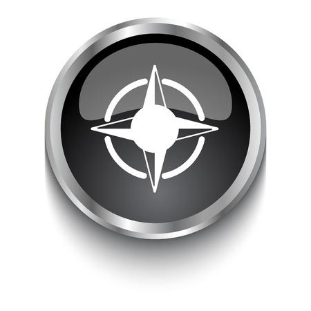 compass rose: White Compass Rose symbol on black web button Illustration